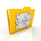 Folder security. File encryption for security is very safe. We emphasize that yellow folder Royalty Free Stock Photo