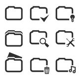 Folder Silhouette Icons Set Isolated on White Royalty Free Stock Photos