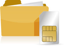 Folder and sim card Royalty Free Stock Photography