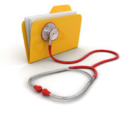 Folder and stethoscope (clipping path included) Stock Image