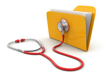 Folder and stethoscope (clipping path included) Royalty Free Stock Photos