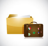 Folder and a suitcase illustration design Royalty Free Stock Photo