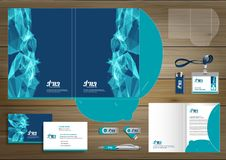 Folder Template design for digital technology company. Element of stationery, people community friends presentation design used fo. Vector abstract Folder stock illustration