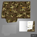 Folder template design. Military folder template design for company with camouflage pattern. Element of stationery Royalty Free Stock Image