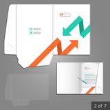 Folder template design. White folder template design for corporate identity with red and green arrows. Stationery set Royalty Free Stock Photos