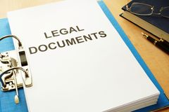 Folder with title Legal Documents in an office. royalty free stock photos