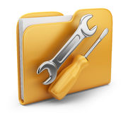 Folder with tool. 3D  icon isolated. Folder with tool. 3D computer icon isolated on white Royalty Free Stock Image