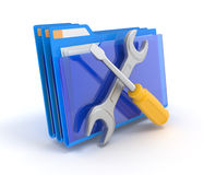 Folder with tools. Blue folder with tools isolated on white. 3d illustration Royalty Free Stock Image