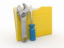 Folder and tools. 3d Stock Photo
