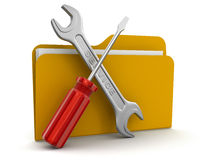 Folder and Tools (clipping path included) Stock Image