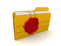 Folder Top Secret (clipping path included). Folder with stamp Top Secret. Image with clipping path Royalty Free Stock Photography
