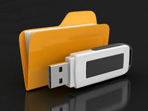 Folder and USB flash (clipping path included). Folder and USB flash. Image with clipping path Royalty Free Stock Images