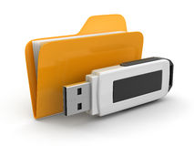 Folder and USB flash. Image with clipping path Royalty Free Stock Photography