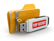 Folder and USB flash Top Secret (clipping path included). Folder and USB flash Top Secret. Image with clipping path Stock Photography