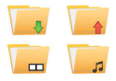 Folder vector icons. For download upload movie and music files Royalty Free Stock Photography