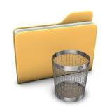 Folder Wastebasket. A big folder with a steel wastebasket on the white background Royalty Free Stock Image