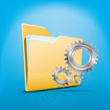 Folder and wheels. Folder with files and working wheels Royalty Free Stock Photos
