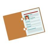 Folder with woman curriculum vitae. Vector illustration Stock Photography