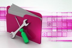 Folder with wrench and screwdriver Stock Photo