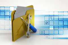 Folder with wrench and screwdriver Royalty Free Stock Photos