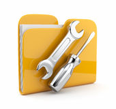 Folder with wrench and screwdriver. Icon 3D. Yellow folder with wrench and screwdriver. Icon 3d . Computer service.   on white background Royalty Free Stock Image