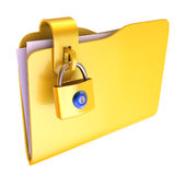 Folder. The yellow folder with hinged lock Stock Photo