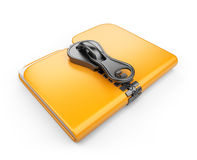 Folder with zip 3D. Compression of data royalty free illustration