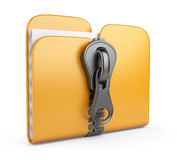 Folder with zip 3D. Compression of data Royalty Free Stock Photography