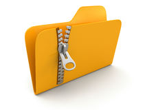 Folder with zipper (clipping path included) Stock Image