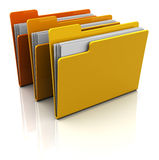 Folders. 3d illustration of three folders with paper, over white background Royalty Free Stock Photography