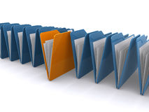 Folders. With papers lined up on a white background, with a unique folder in the middle Royalty Free Stock Images