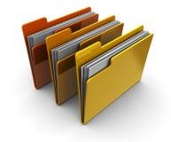 Folders. 3d illustration of three folders over white background Stock Image