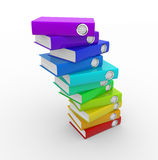 Folders. Stack of colorful folders on white background. 3d render illustration Stock Images