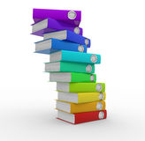 Folders. Stack of colorful folders on white background. 3d render illustration Stock Photos