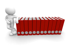 Folders. 3d people - human character and archive folders. 3d render illustration Stock Images