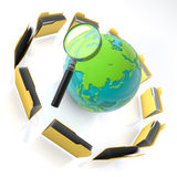 Folders. Magnify glass on a globe with folders around on  a white background Stock Photos