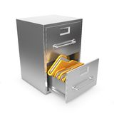 Folders in Archive Drawer. 3d Illustration Stock Photography