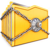 Folders. With chain and combination lock.  on white background Stock Photo