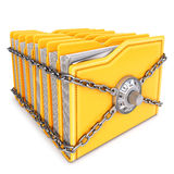 Folders. With chain and combination lock.  on white background Royalty Free Stock Photos