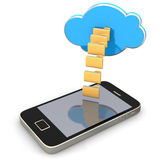 Folders Cloud Smartphone. Smartphone with folders an cloud on the white background Royalty Free Stock Photos