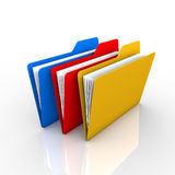 3 folders. 3-color folder, as described in the filing of documents and visual. The presentation and available on the internet Stock Images