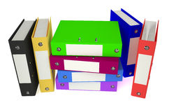 Folders colored. Color folders with documents on white background Royalty Free Stock Images