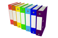 Folders colored row. Color folders with documents on white background Stock Photo
