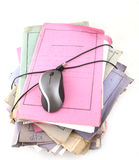 Folders with computer mouse Royalty Free Stock Photos