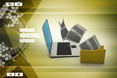 Folders connected to a computer. In color background Royalty Free Stock Photos