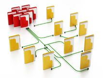 Folders connected to each other in a network. 3D illustration.  Royalty Free Stock Images