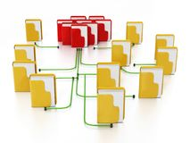Folders connected to each other in a network. 3D illustration.  Royalty Free Stock Photo
