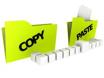 Folders: Copy and Paste. Illustration of the copy and paste folders in 3D-Look Royalty Free Stock Photography