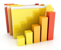Folders and diagramme Stock Photo