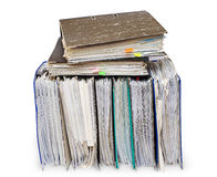 Folders with documents. Official papers in folders are isolated on the white Stock Photography